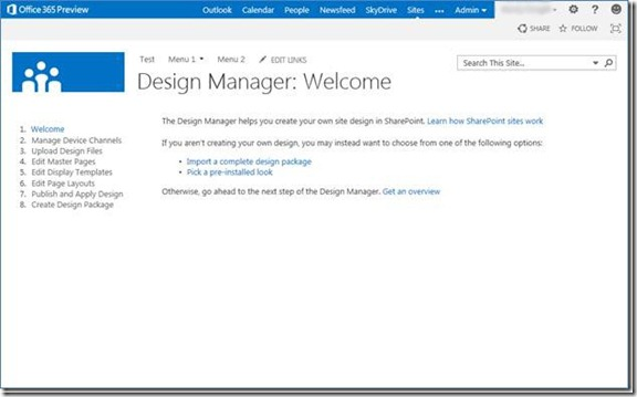 Sharepoint 2013 preview design manager